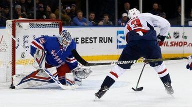 The Rangers' Alexandar Georgiev surrenders a goal in