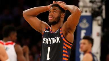 Emmanuel Mudiay of the Knicks reacts late in