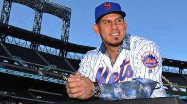 Wilson Ramos, newly-signed Mets catcher, poses for a