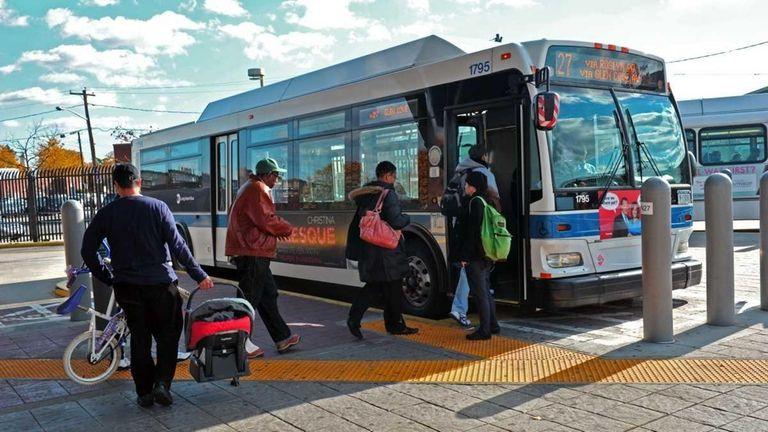 November 17, 2010--Passengers board the N27 Long Island