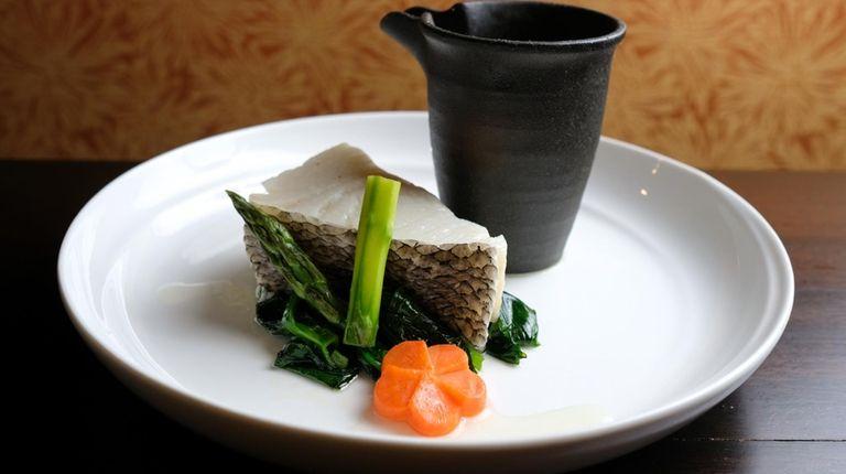 Chilean sea bass served with yuzu shoyu sauce