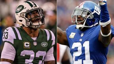 Jets safety Jamal Adams, left, and Giants safety