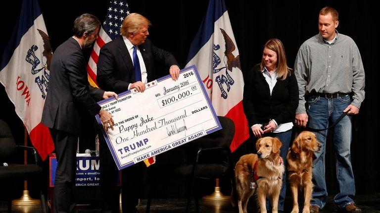 On Jan. 30, 2016, Donald Trump presents a