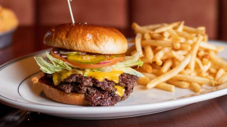 The double-stacked Harrison burger comes with melted American