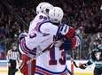 Rangers center Vladislav Namestnikov embraces Rangers center Kevin