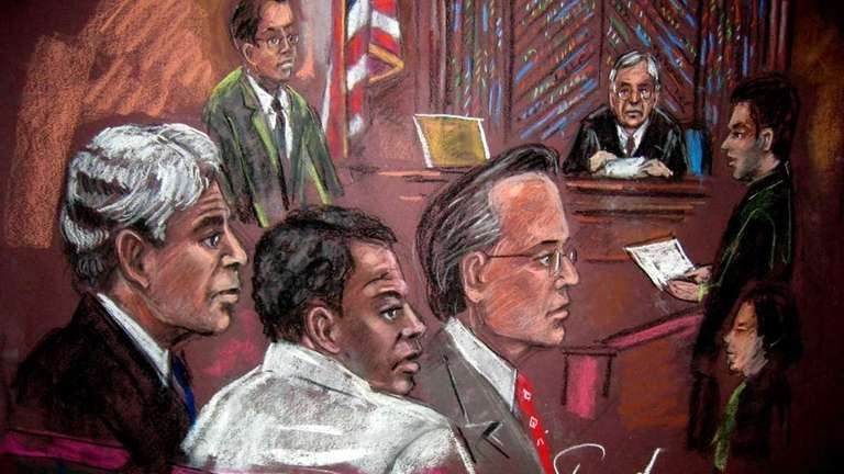 A drawing shows Ahmed Ghailani, center left, with