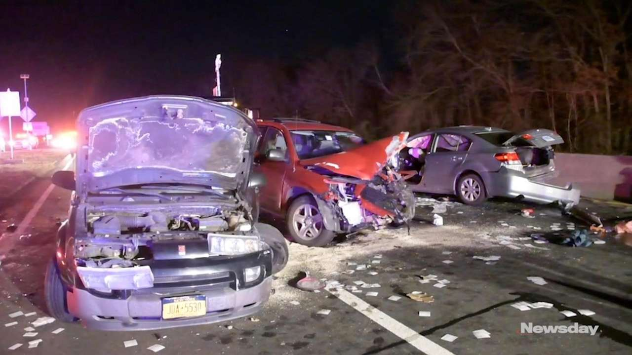 A wrong-way driver who caused a three-vehicle crash on the