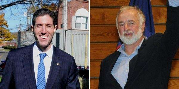 At left, Randy Altschuler attends a Veterans Day