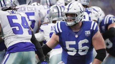 The Colts' Quenton Nelson blocks the Cowboys' Jaylon