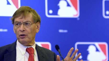 Baseball commissioner Bud Selig speaks at a news
