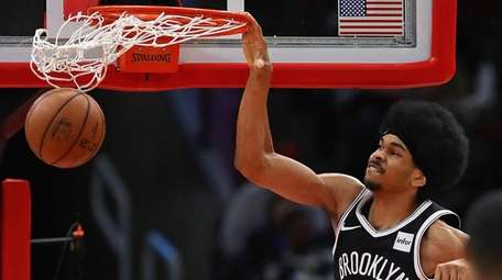 The Nets' Jarrett Allen dunks against the Bulls