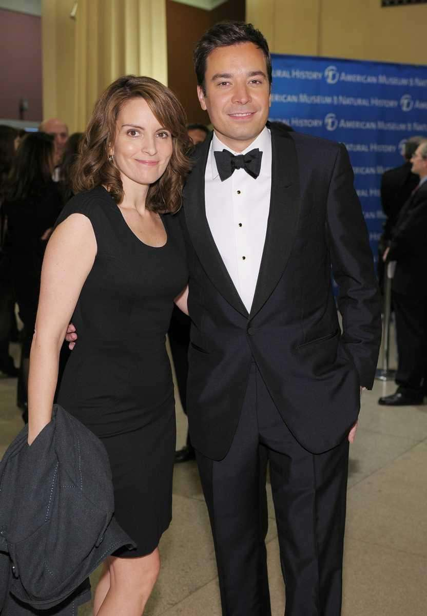 Actors and comedians Tina Fey and Jimmy Fallon