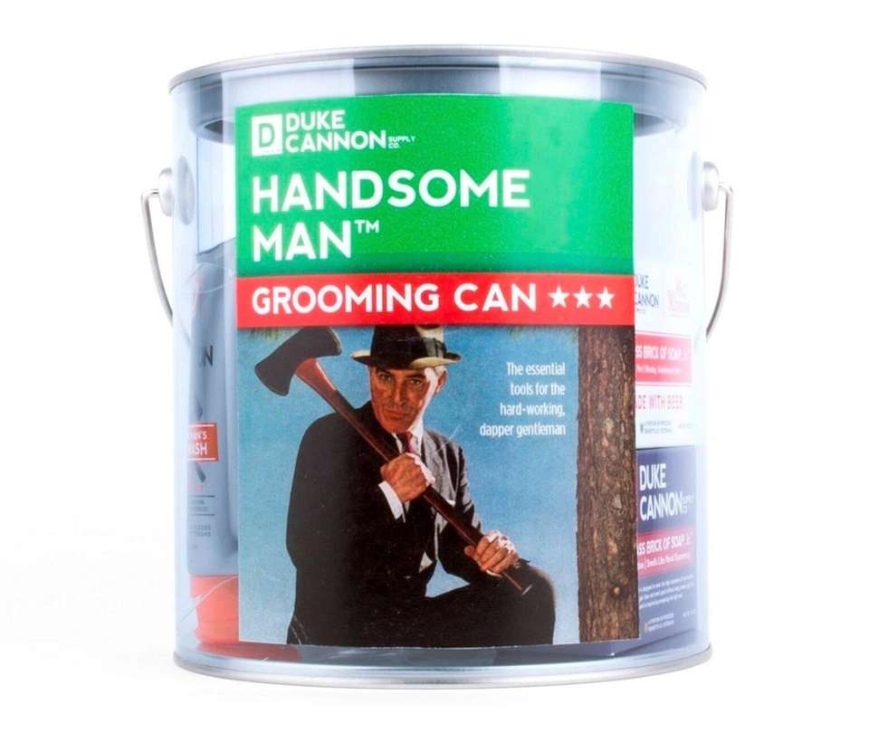 Duke Cannon's Handsome Man Grooming Can contains eight