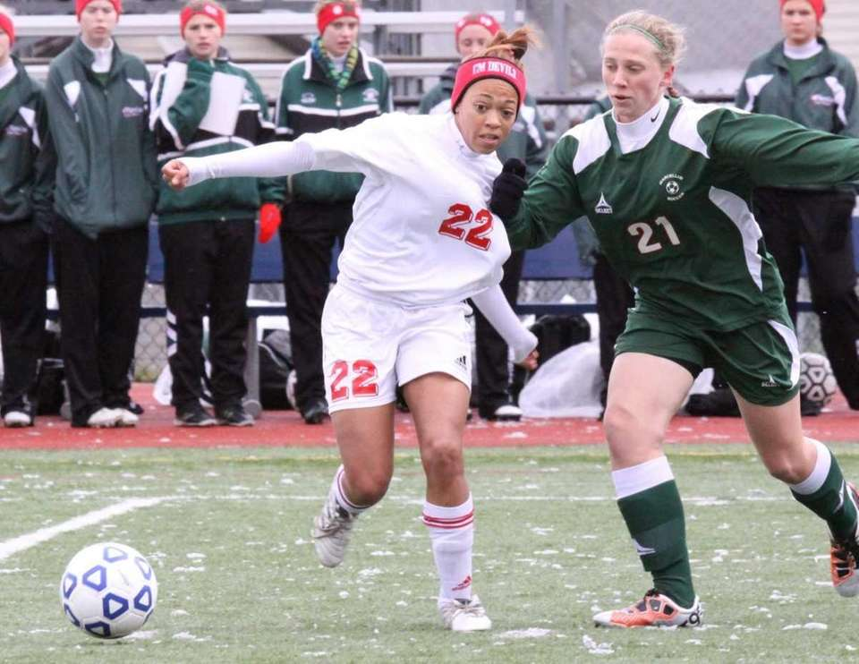 Center Moriches Takia Plummer brings the ball up