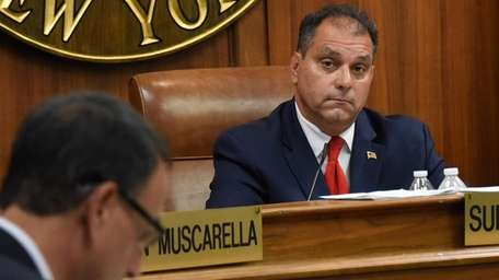 From left: Councilman Joseph Muscarella, Supervisor Joseph Saladino,