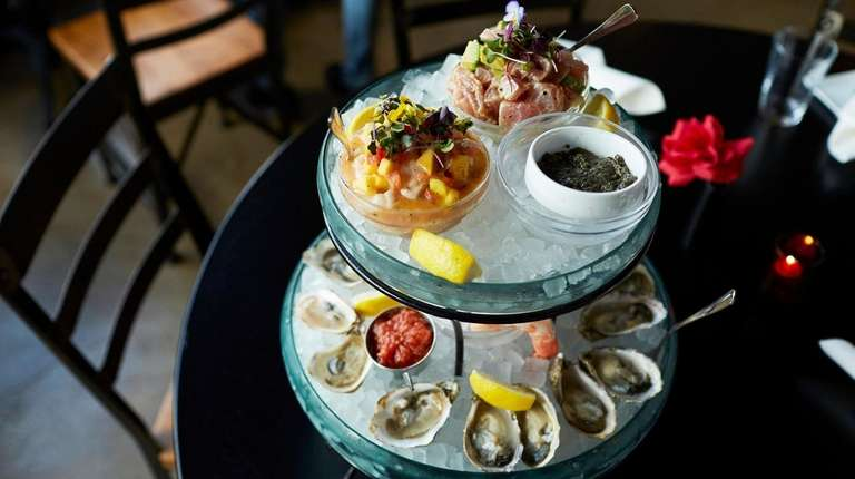 The seafood tower at Virgola Oyster & Wine