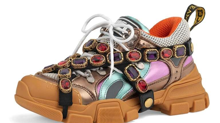 Gucci's metallic jeweled sneakers at Neiman Marcus.