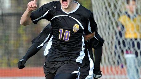 Sayville senior Vincent Sakk reacts after scoring the