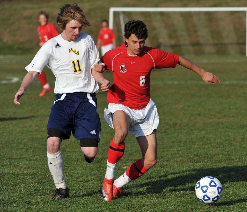 Friends Academy senior Matt Slotnick, right, and Madrid-Waddington