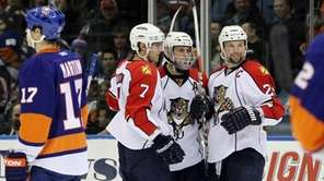 Stephen Weiss #9 of the Florida Panthers celebrates