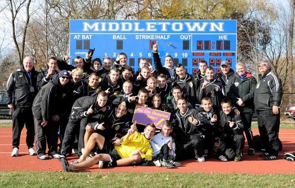 The Sayville soccer team pose for a photo