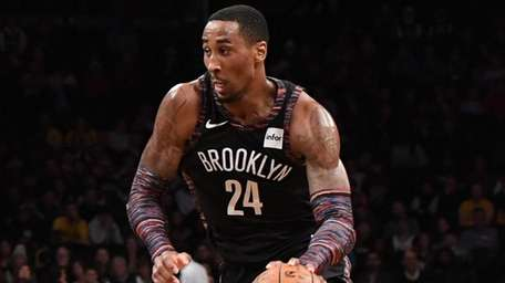 Brooklyn Nets forward Rondae Hollis-Jefferson controls the ball