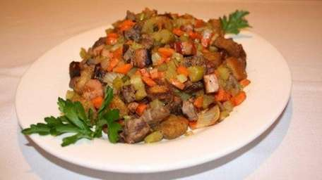 Steak and Canadian bacon stuffing puts an unusual