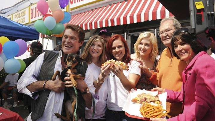 David Hasselhoff has some fun while filming his