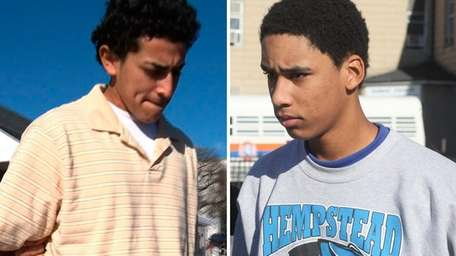 Fifteen-year-old Yan Cifuentes, left, and 17-year-old Pedro Santos,