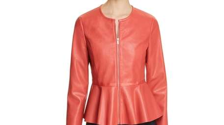 Faux fun: Eye-catching faux-leather peplum jacket adds interest