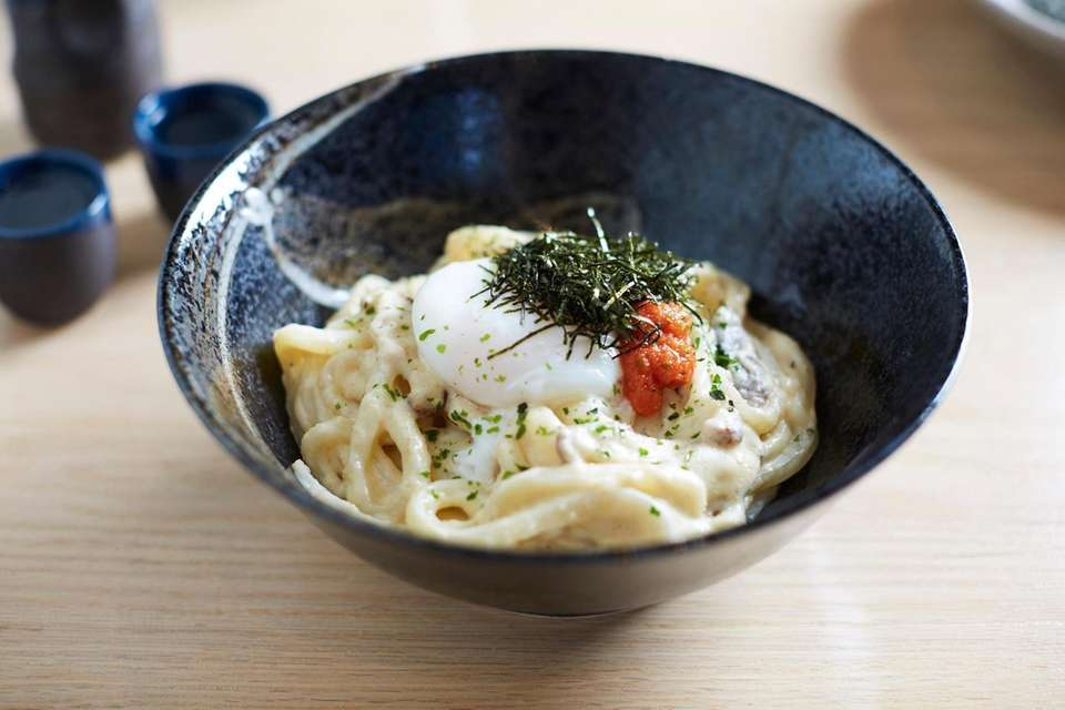 Creamy mentai udon, slathered in butter and mayo