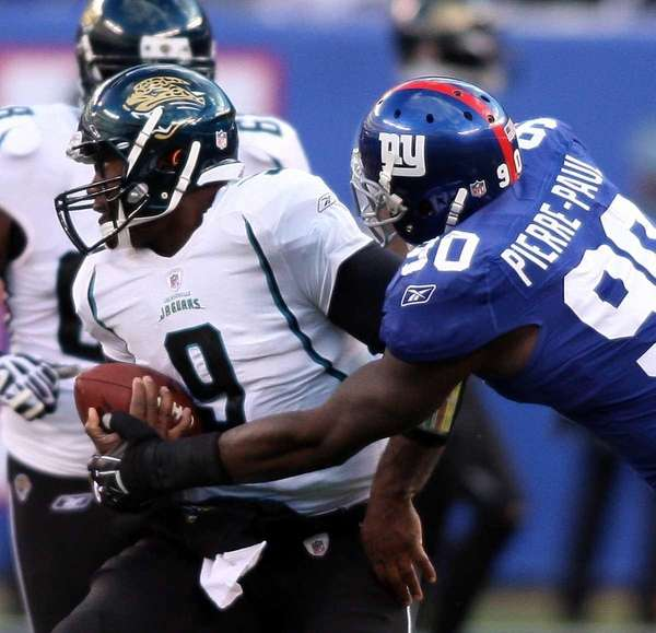 Giants defensive end Jason Pierre-Paul strip-sacks Jacksonville's David