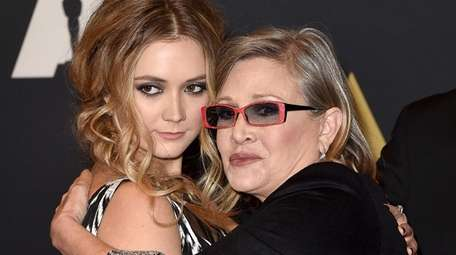 Billie Lourd with her mother, Carrie Fisher, in