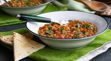 Lentils and vegetables seasoned with coriander and cumin