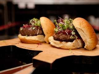 Angus beef slider is served with tomato jam
