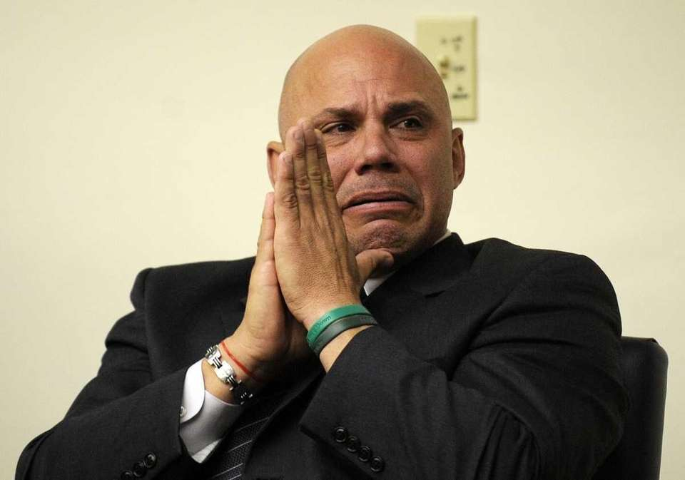 Former major league baseball player Jim Leyritz reacts