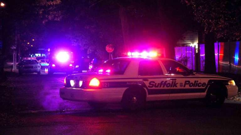 Suffolk County Police investigate a shooting that took