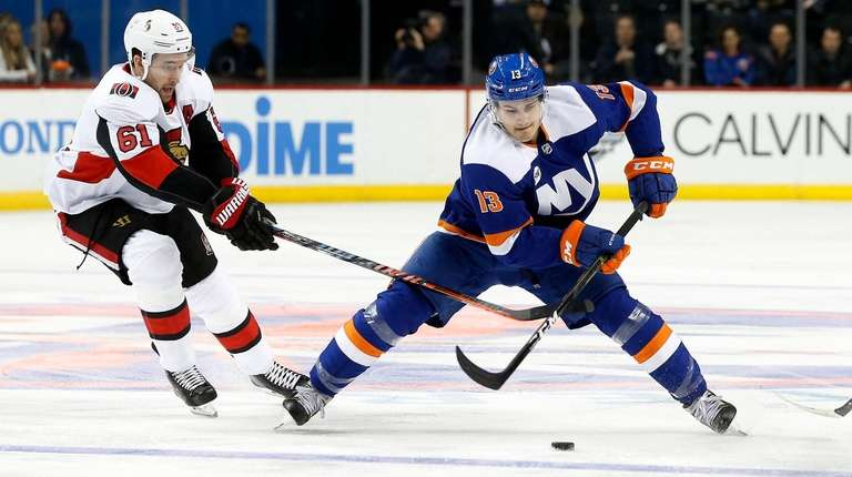 Mathew Barzal #13 of the New York Islanders