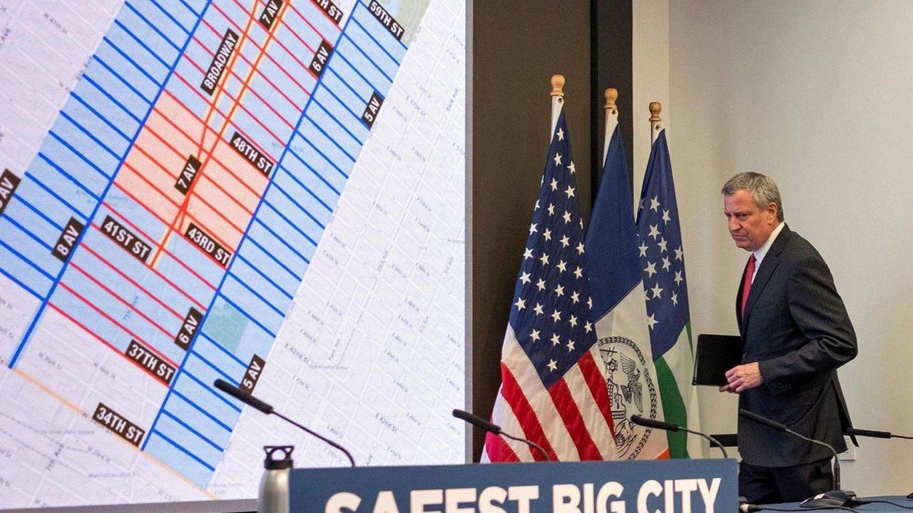 Mayor Bill de Blasio spoke Friday in Times