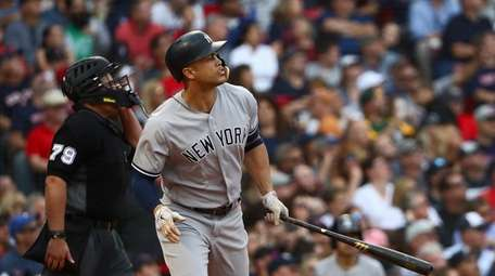 Giancarlo Stanton hits home run vs. Red Sox