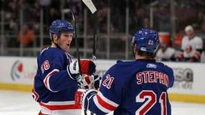 Marc Staal of the New York Rangers celebrates