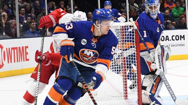 New York Islanders center Casey Cizikas skates with