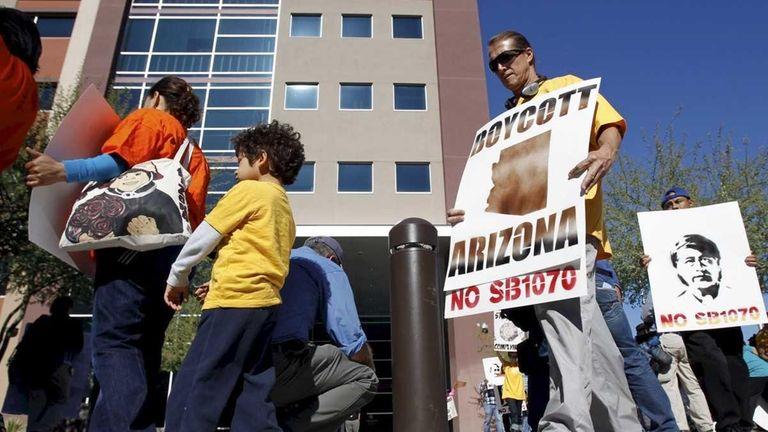 A protest against parts of Arizona's immigration legislation