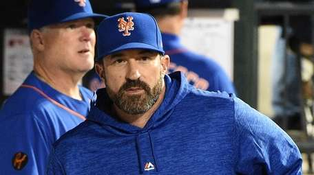 New York Mets manager Mickey Callaway look on