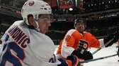 Scott Hartnell of the Philadelphia Flyers lines up
