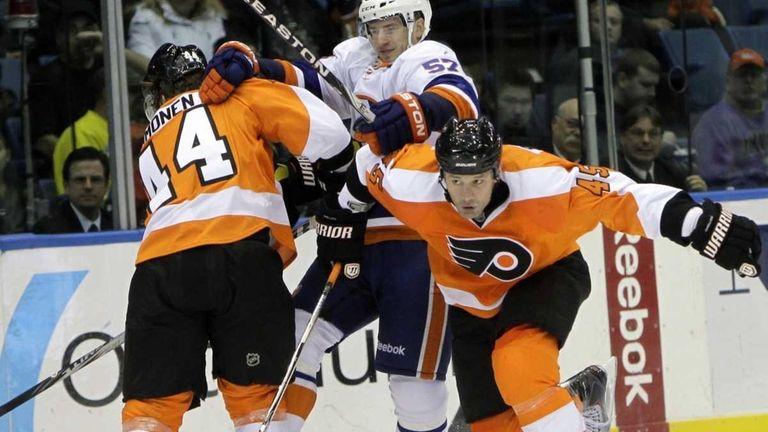 Philadelphia Flyers' Kimmo Timonen, left, blocks New York