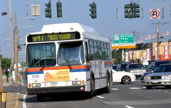 An N47 Long Island Bus turns onto Hempstead