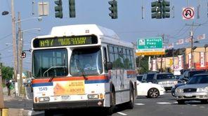 An N47 Long Island Bus turns onto Hempstead