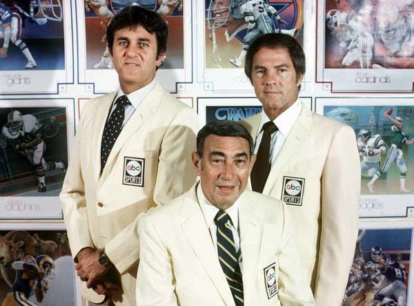 Don Meredith, left, Howard Cosell, center, and Frank