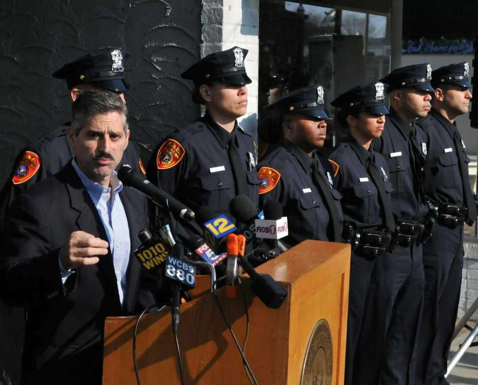 New Suffolk County police recruits stand alongside Suffolk